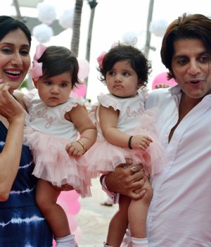 Karanvir Bohra hosts a grand birthday party as his twin daughters turn one