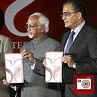Aroon Purie and Hamid Ansari